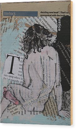 Alphabet Nude T Wood Print by Joanne Claxton