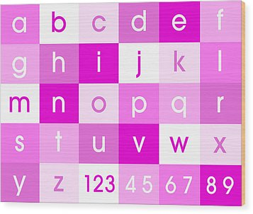 Alphabet Pink Wood Print by Michael Tompsett
