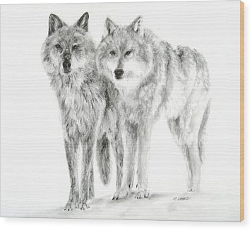 Wood Print featuring the drawing Alphas by Meagan  Visser