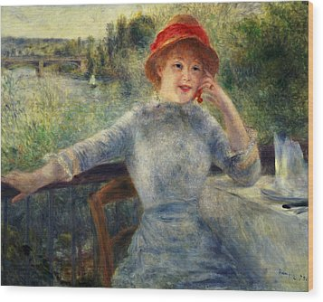 Alphonsine Fournaise Wood Print by Pierre Auguste Renoir