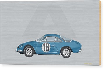 Wood Print featuring the mixed media Alpine A110 by TortureLord Art