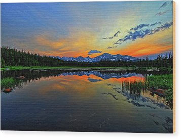 Wood Print featuring the photograph Alpine Lake Glow by Scott Mahon