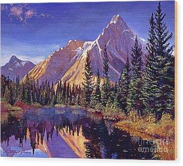 Alpine Lake Mist Wood Print by David Lloyd Glover