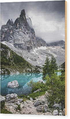 Alpine Lake Wood Print by Yuri Santin
