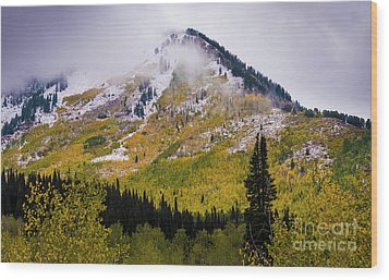 Wood Print featuring the photograph Alpine Loop Autumn Storm - Wasatch Mountains  by Gary Whitton