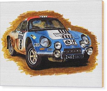Alpine Renault A110 Jean-pierre Nicolas 1973 Wood Print by Ugo Capeto