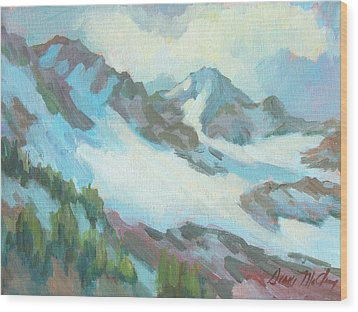 Wood Print featuring the painting Alps In Switzerland by Diane McClary