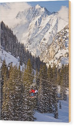 Alta Ski Resort Wasatch Mts Utah Wood Print