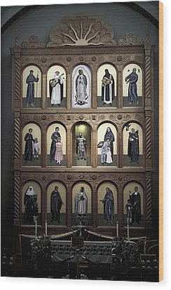 Altar Screen Cathedral Basilica Of St Francis Of Assisi Santa Fe Nm Wood Print by Christine Till