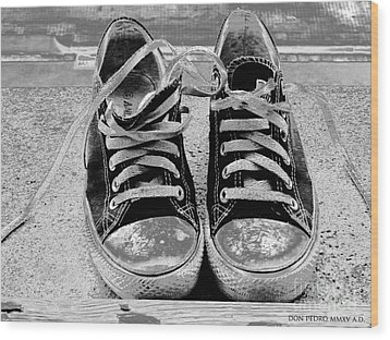Old Sneakers. Wood Print by Don Pedro De Gracia