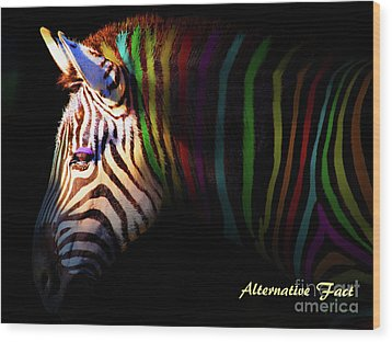 Wood Print featuring the photograph Alternative Fact Number 1 The Color Striped Zebra 7d8908 by Wingsdomain Art and Photography