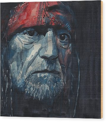 Wood Print featuring the painting Always On My Mind - Willie Nelson  by Paul Lovering