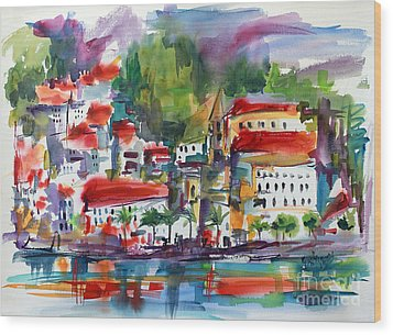 Wood Print featuring the painting Amalfi Coast Italy Expressive Watercolor by Ginette Callaway
