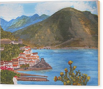 Wood Print featuring the painting Amalfi Coast by Trilby Cole