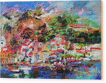 Wood Print featuring the painting Amalfi Impression Travel Italy by Ginette Callaway