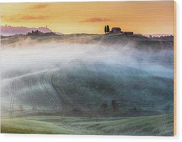 Amazing Landscape Of Tuscany Wood Print by Evgeni Dinev