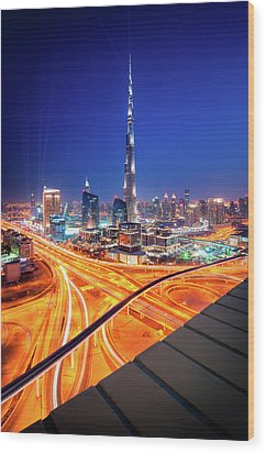 Amazing Night Dubai Downtown Skyline, Dubai, United Arab Emirates Wood Print