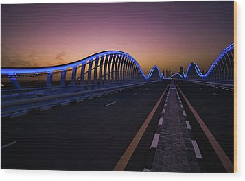 Amazing Night Dubai Vip Bridge With Beautiful Sunset. Private Ro Wood Print