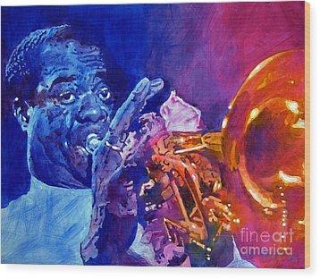 Ambassador Of Jazz - Louis Armstrong Wood Print by David Lloyd Glover