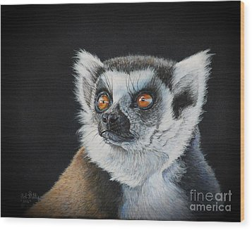 Amber Eyes......lemur Wood Print