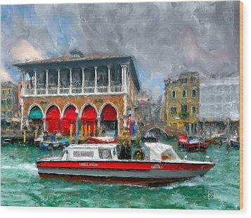 Wood Print featuring the photograph Ambulanza. Venezia by Juan Carlos Ferro Duque