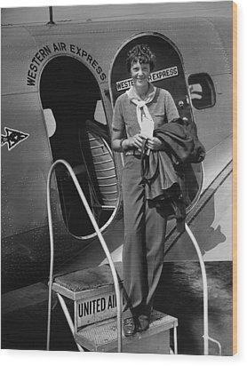 Amelia Earhart 1897-1937 Standing Wood Print by Everett