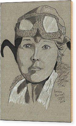 Amelia Earhart Wood Print