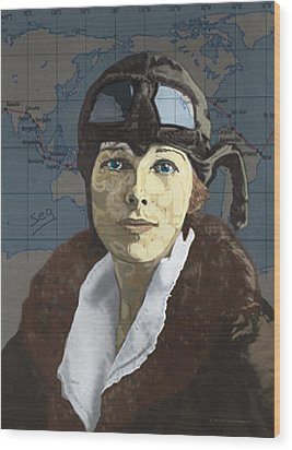 Amelia Earhart Wood Print by Suzanne Gee