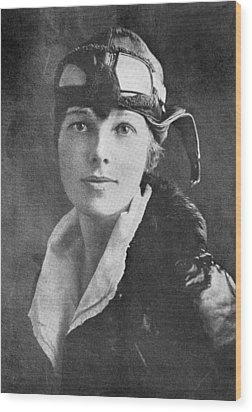 Amelia Earhart, Us Aviation Pioneer Wood Print by Science, Industry & Business Librarynew York Public Library