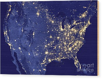 America By Night Wood Print by Delphimages Photo Creations