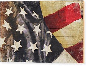 America Flag Pattern Postcard Wood Print by Setsiri Silapasuwanchai