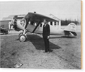 America Pilot Charles Lindbergh Wood Print by Everett
