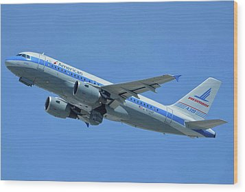 Wood Print featuring the photograph American Airbus A319-0112 N744p Piedmont Pacemaker Los Angeles International Airport May 3 20 by Brian Lockett