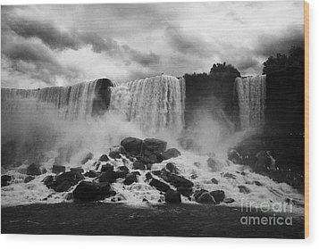 American And Bridal Veil Falls With Luna Island And Deposited Talus Niagara Falls New York State Usa Wood Print by Joe Fox