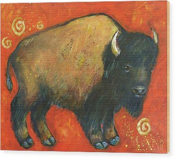 American Bison Wood Print by Carol Suzanne Niebuhr