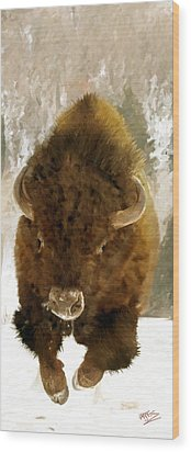Wood Print featuring the painting American Bison by James Shepherd