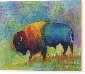 Wood Print featuring the painting American Buffalo IIi by Hailey E Herrera
