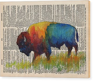 American Buffalo IIi On Vintage Dictionary Wood Print by Hailey E Herrera