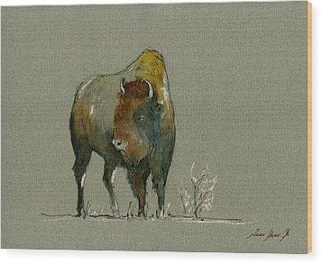 American Buffalo Wood Print by Juan  Bosco