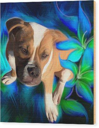 American Bulldog Wood Print