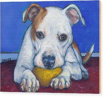 American Bulldog With Yellow Ball Wood Print by Dottie Dracos