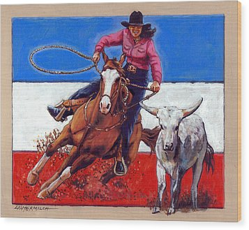 American Cowgirl Wood Print by John Lautermilch