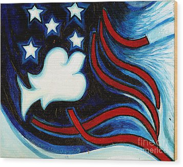Wood Print featuring the painting American Dove by Genevieve Esson