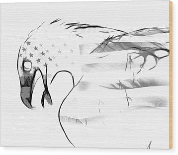 American Eagle Black And White Wood Print by Melanie Viola