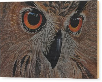 Wood Print featuring the drawing American Eagle Owl by Jo Baner
