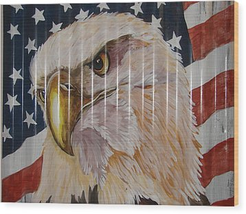 American Eagle Wood Print by Patty Sjolin