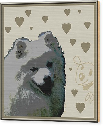 American Eskimo Wood Print by One Rude Dawg Orcutt