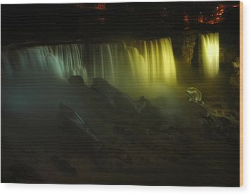 American Falls Night View Wood Print by Rick Couper