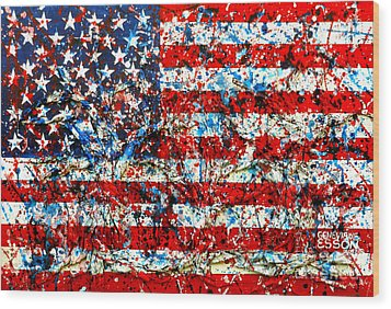 Wood Print featuring the painting American Flag Abstract With Trees by Genevieve Esson