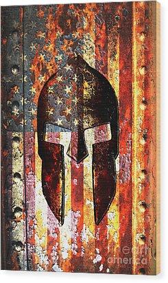 American Flag And Spartan Helmet On Rusted Metal Door - Molon Labe Wood Print